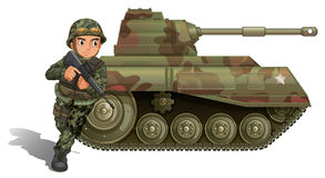 A soldier near the armour tank Stock Photography