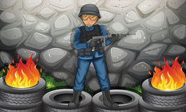 A soldier near the stonewall. Illustration of a soldier near the stonewall Royalty Free Stock Photography