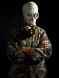Soldier in a nuclear apocalypse Royalty Free Stock Photo