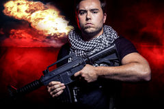 Soldier in Nuclear War Stock Photo