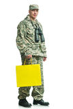 Soldier with a package Royalty Free Stock Images
