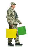 Soldier with a package Stock Photography