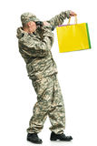 Soldier with a package Stock Image