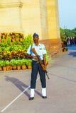 Soldier in parade uniform guards Stock Photos