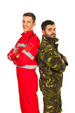 Soldier and paramedic Stock Photo