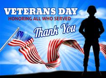 Soldier Patriotic American Flag Veterans Day Royalty Free Stock Images