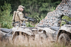 Soldier on patrol royalty free stock images