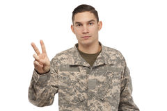 Soldier with peace sign Royalty Free Stock Photography