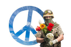 Soldier and peace symbols Royalty Free Stock Photos