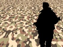 Soldier on perspective camouflage Royalty Free Stock Photo