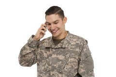 Soldier on the phone Royalty Free Stock Photography