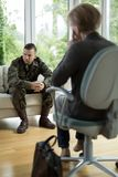 Soldier with physical trauma Stock Photos