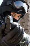 Soldier with a pistol. Soldier with a semi-automatic glock pistol targeting Stock Images