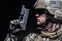 Soldier with pistol Stock Photography