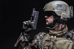 Soldier with pistol Royalty Free Stock Photography