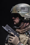 Soldier with pistol Royalty Free Stock Image