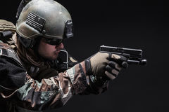 Soldier with pistol Stock Photos