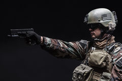 Soldier with pistol Stock Photo