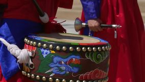 Soldier Play Drums during Changing Guards Ceremony at Gyeongbokgung Palace