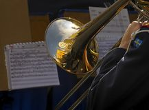 Soldier playing trombone Royalty Free Stock Images
