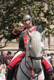Soldier playing the trumpet Stock Images