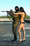 Soldier and pretty woman stock image