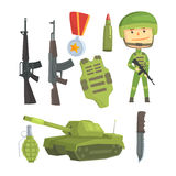 Soldier and professional army weapon, set for label design. Colorful cartoon detailed Illustrations Royalty Free Stock Images