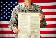 Soldier: Proud of the US Constitution Royalty Free Stock Photography