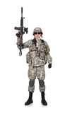 Soldier raised his rifle up Royalty Free Stock Photos