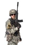 Soldier raised his rifle up Stock Images