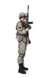 Soldier raised his rifle up Stock Photo