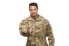 Soldier ready to shake hands Royalty Free Stock Photos