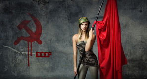 Soldier with red. People emotions and expressions Royalty Free Stock Image