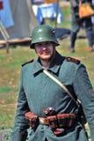 Soldier-reenactor portrait. Royalty Free Stock Photo