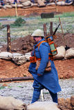 A soldier-reenactor walks on the battle field. Stock Image