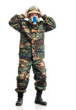 Soldier with a respirator Royalty Free Stock Photo