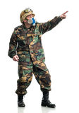 Soldier with a respirator Royalty Free Stock Image