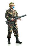 Soldier with a respirator Stock Images