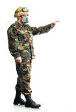 Soldier with a respirator Royalty Free Stock Photography