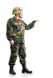 Soldier with a respirator Stock Photography