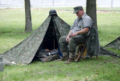 Soldier at rest Stock Images