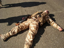 Soldier resting stock images