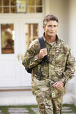 Soldier Returning To Unit After Home Leave Royalty Free Stock Images
