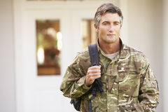 Soldier Returning To Unit After Home Leave Stock Photos