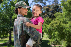 Soldier reunited with her daughter Stock Image