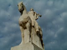 Soldier riding a horse made of marble Royalty Free Stock Photography
