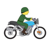 Soldier riding motorcycle Stock Images