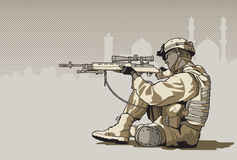 Soldier with a rifle. Illustration of soldier with a rifle with mosque on the background Royalty Free Stock Photo