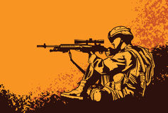 Soldier with a rifle. Illustration of soldier with a rifle Stock Image