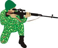 The soldier with a rifle. Fire-arms. The well-aimed sniper Stock Photography